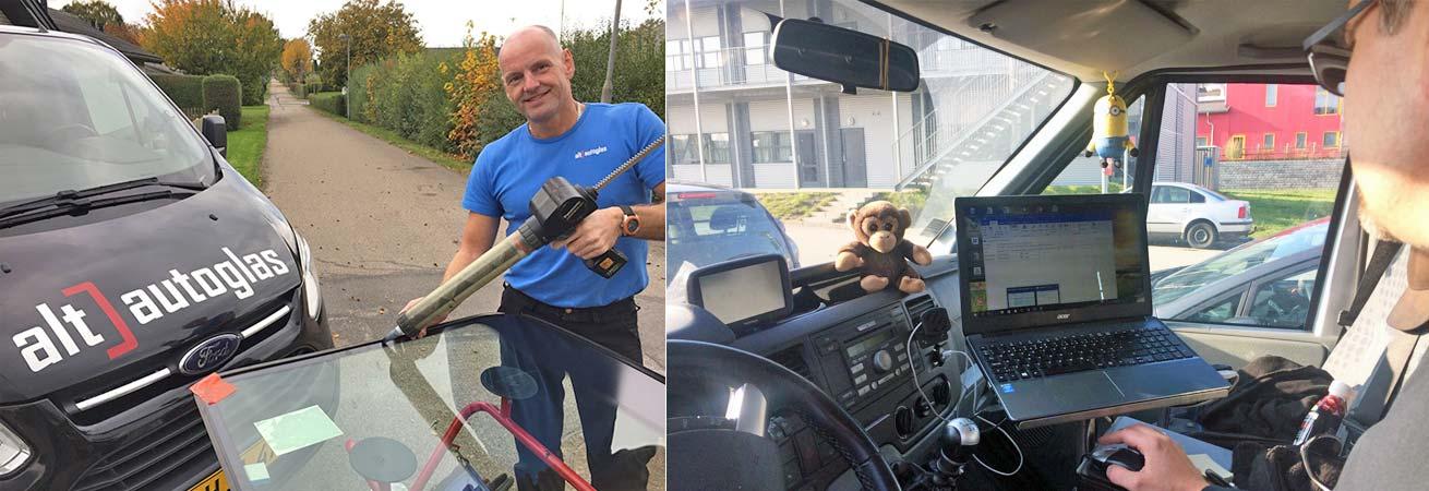 Glasmontøren checker for nye bilglas opgaver efter skift af forrude